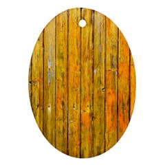 Background Wood Lath Board Fence Oval Ornament (two Sides)