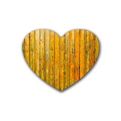 Background Wood Lath Board Fence Rubber Coaster (heart)