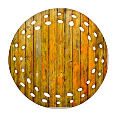 Background Wood Lath Board Fence Round Filigree Ornament (two Sides)