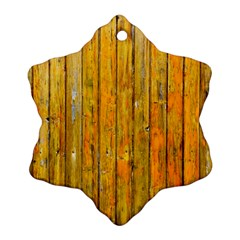 Background Wood Lath Board Fence Snowflake Ornament (two Sides)