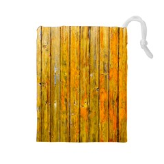 Background Wood Lath Board Fence Drawstring Pouches (large)