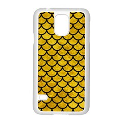 Scales1 Black Marble & Yellow Marble (r) Samsung Galaxy S5 Case (white)