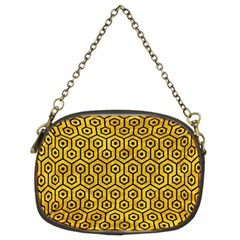 Hexagon1 Black Marble & Yellow Marble (r) Chain Purse (two Sides)