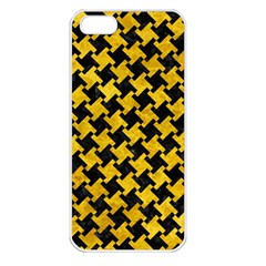 Houndstooth2 Black Marble & Yellow Marble Apple Iphone 5 Seamless Case (white)
