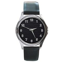 Black Pattern Sand Surface Texture Round Metal Watch