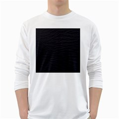 Black Pattern Sand Surface Texture White Long Sleeve T Shirts