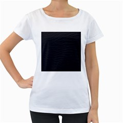 Black Pattern Sand Surface Texture Women s Loose Fit T Shirt (white)
