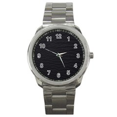 Black Pattern Sand Surface Texture Sport Metal Watch