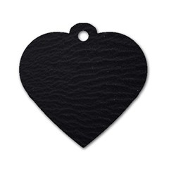 Black Pattern Sand Surface Texture Dog Tag Heart (one Side)