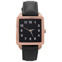 Black Pattern Sand Surface Texture Rose Gold Leather Watch