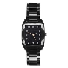 Black Pattern Sand Surface Texture Stainless Steel Barrel Watch