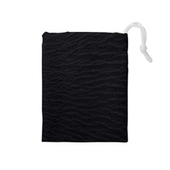 Black Pattern Sand Surface Texture Drawstring Pouches (medium)