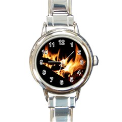 Bonfire Wood Night Hot Flame Heat Round Italian Charm Watch