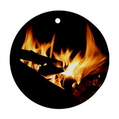 Bonfire Wood Night Hot Flame Heat Ornament (Round)