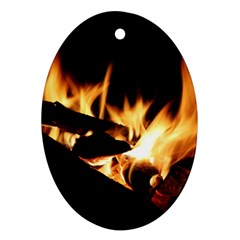 Bonfire Wood Night Hot Flame Heat Ornament (oval)
