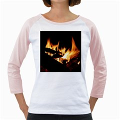Bonfire Wood Night Hot Flame Heat Girly Raglans