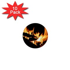 Bonfire Wood Night Hot Flame Heat 1  Mini Magnet (10 Pack)
