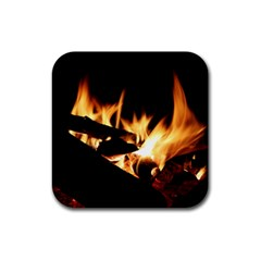 Bonfire Wood Night Hot Flame Heat Rubber Coaster (square)
