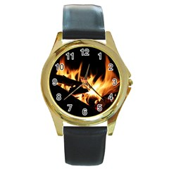 Bonfire Wood Night Hot Flame Heat Round Gold Metal Watch