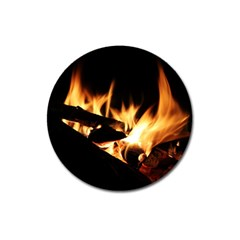 Bonfire Wood Night Hot Flame Heat Magnet 3  (round)