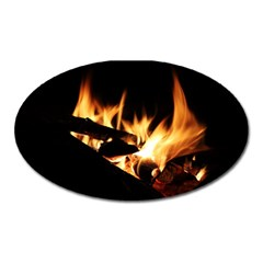 Bonfire Wood Night Hot Flame Heat Oval Magnet