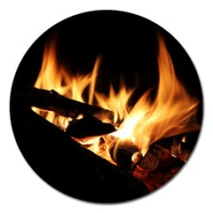 Bonfire Wood Night Hot Flame Heat Magnet 5  (round)