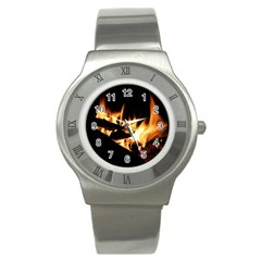 Bonfire Wood Night Hot Flame Heat Stainless Steel Watch