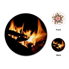 Bonfire Wood Night Hot Flame Heat Playing Cards (round)
