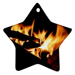 Bonfire Wood Night Hot Flame Heat Star Ornament (two Sides)