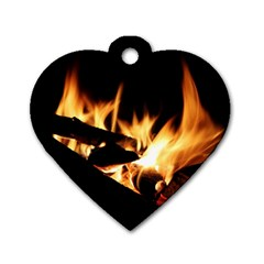 Bonfire Wood Night Hot Flame Heat Dog Tag Heart (two Sides)