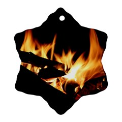 Bonfire Wood Night Hot Flame Heat Snowflake Ornament (two Sides)