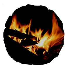 Bonfire Wood Night Hot Flame Heat Large 18  Premium Round Cushions