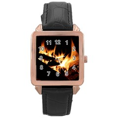 Bonfire Wood Night Hot Flame Heat Rose Gold Leather Watch