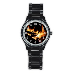 Bonfire Wood Night Hot Flame Heat Stainless Steel Round Watch