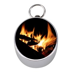 Bonfire Wood Night Hot Flame Heat Mini Silver Compasses