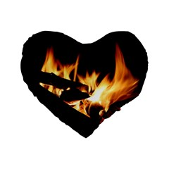 Bonfire Wood Night Hot Flame Heat Standard 16  Premium Flano Heart Shape Cushions