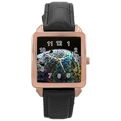 Bubble Iridescent Soap Bubble Rose Gold Leather Watch