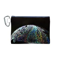 Bubble Iridescent Soap Bubble Canvas Cosmetic Bag (m)