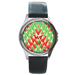 Christmas Geometric 3d Design Round Metal Watch