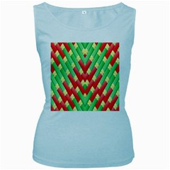 Christmas Geometric 3d Design Women s Baby Blue Tank Top