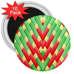 Christmas Geometric 3d Design 3  Magnets (10 Pack)