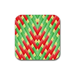 Christmas Geometric 3d Design Rubber Square Coaster (4 Pack)