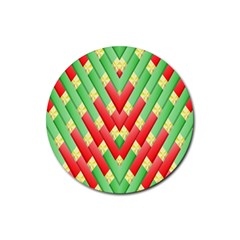 Christmas Geometric 3d Design Rubber Round Coaster (4 Pack)
