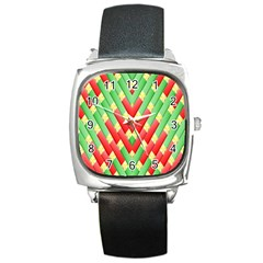Christmas Geometric 3d Design Square Metal Watch