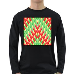 Christmas Geometric 3d Design Long Sleeve Dark T Shirts