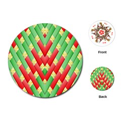 Christmas Geometric 3d Design Playing Cards (round)