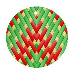 Christmas Geometric 3d Design Round Ornament (two Sides)