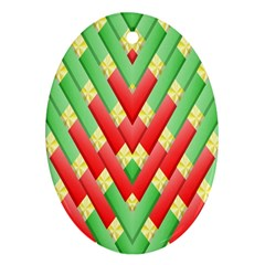 Christmas Geometric 3d Design Oval Ornament (two Sides)