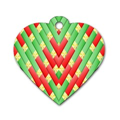 Christmas Geometric 3d Design Dog Tag Heart (one Side)
