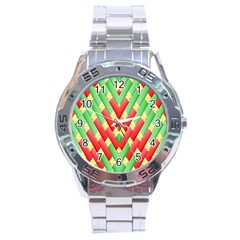 Christmas Geometric 3d Design Stainless Steel Analogue Watch